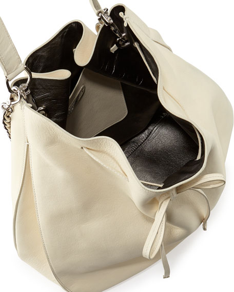 Calfskin Bucket Hobo Bag, Off White