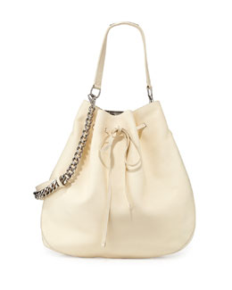 Ralph Lauren Calfskin Bucket Hobo Bag, Off White