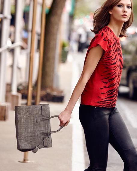 Saint Laurent Sac de Jour Croc-Print Carryall Bag, Gray