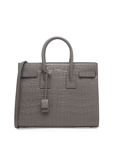 Saint Laurent Sac de Jour Croc-Print Carryall Bag, Gray