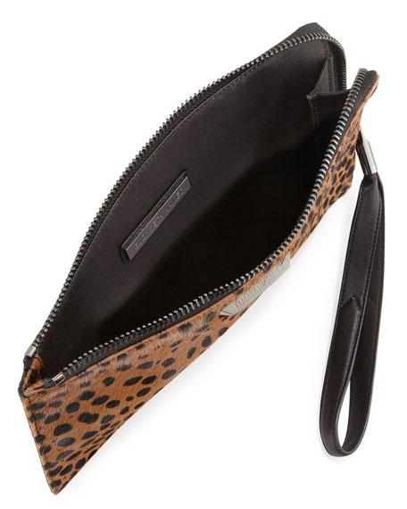 Pyramid Spotted Slim Wristlet Clutch Bag, Cognac/Black