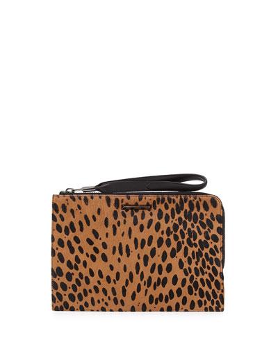 Elizabeth and James Pyramid Spotted Slim Wristlet Clutch Bag, Cognac/Black