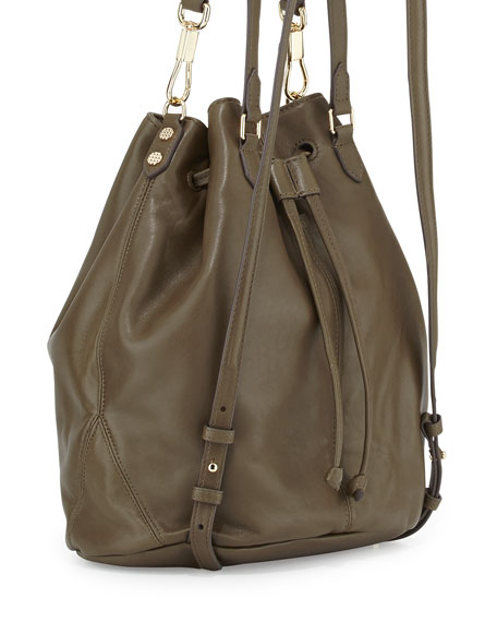 Cynnie Leather Tassel Backpack, Moss