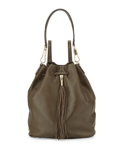 Elizabeth and James Cynnie Leather Tassel Backpack, Moss