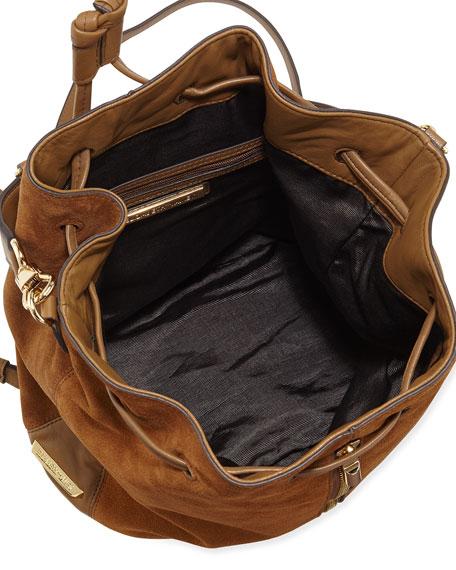 Cynnie Suede Drawstring Backpack, Coco