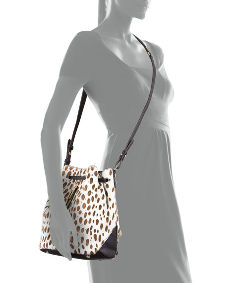 Elizabeth and James Cynnie Spotted Mini Bucket Bag, Ivory/Black