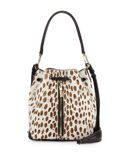 Elizabeth and James Cynnie Spotted Mini Bucket Bag, Ivory/Black