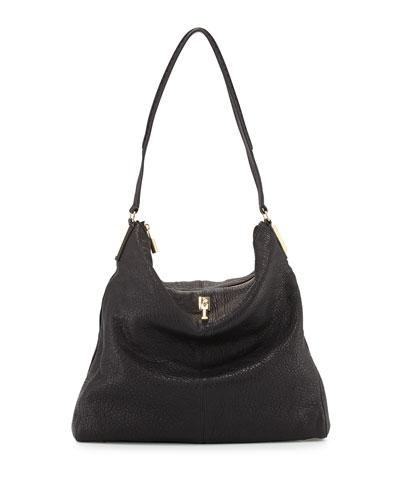 Elizabeth and James Pyramid Leather Hobo Bag, Black