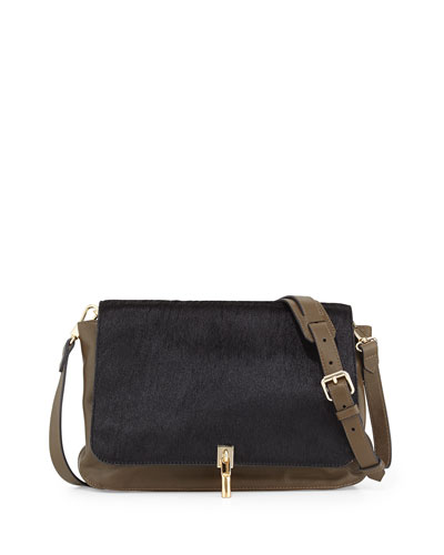 Elizabeth and James Leather & Calf Hair Crossbody Bag, Black/Moss