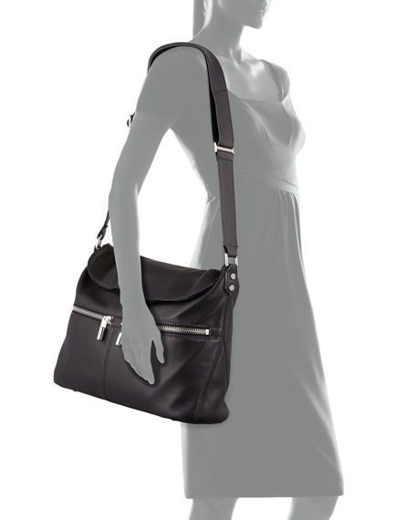 James Lambskin Crossbody Bag, Black