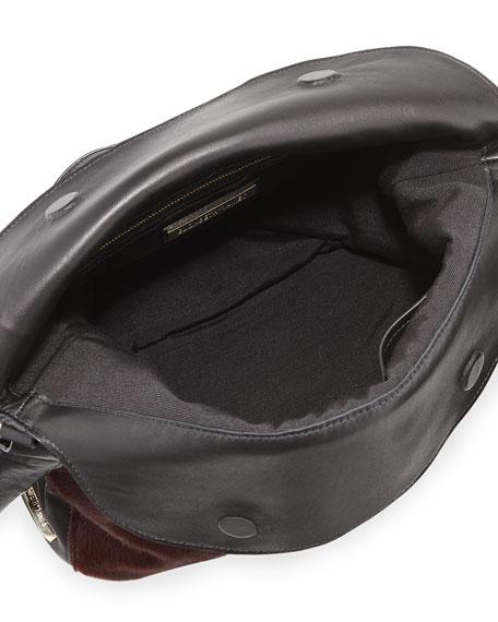 James Calf Hair Hobo Bag, Russet/Black