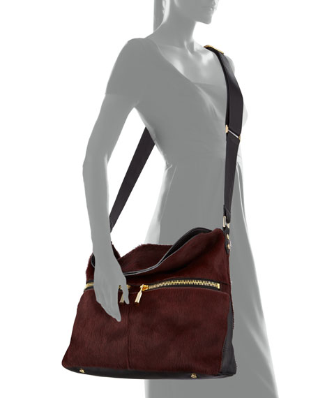 James Calf Hair Hobo Bag, Russet/Black