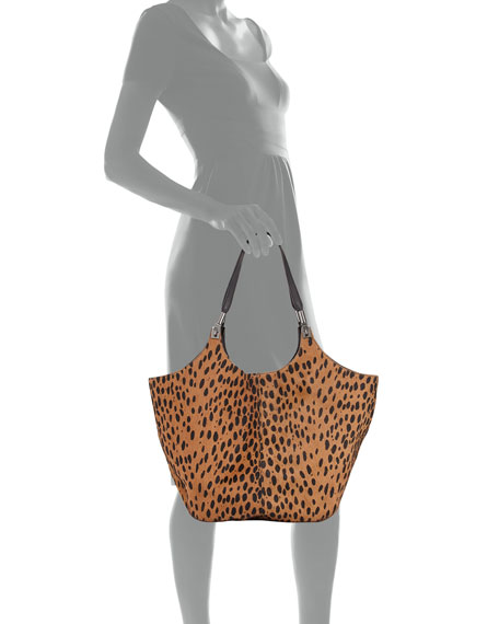 Cynnie Spotted Shopper Bag, Cognac/Black
