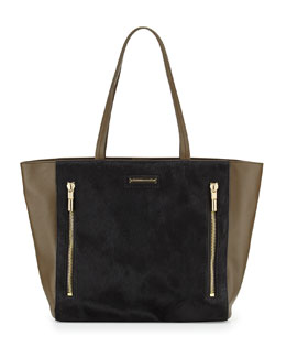 Elizabeth and James James Calf Hair Tote Bag, Black/Moss