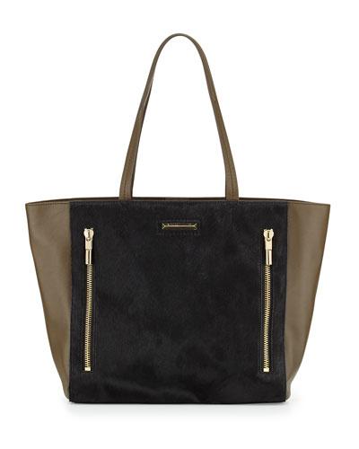 Elizabeth and James James Calf Hair Tote Bag, Black/Moss