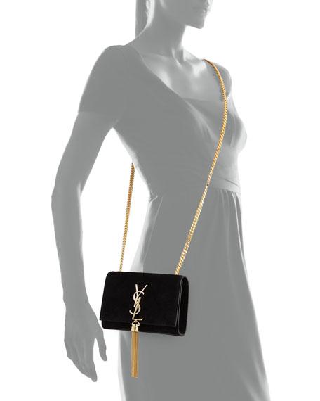 Saint Laurent Monogram Small Suede Tassel Crossbody Bag, Black