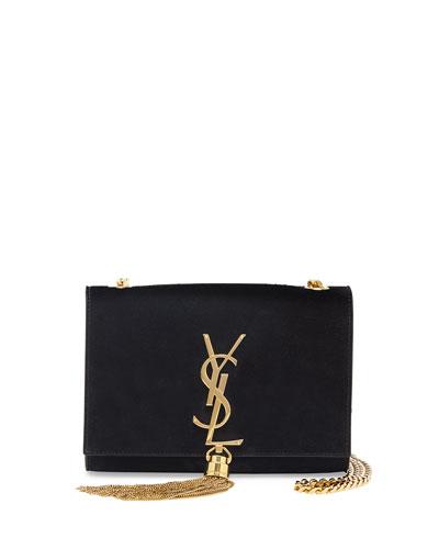 Monogram Small Suede Tassel Crossbody Bag, Black