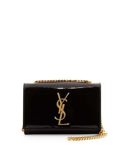 Saint Laurent Monogramme Small Patent Crossbody Bag, Black