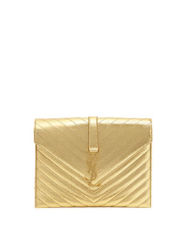 Saint Laurent Monogramme Envelope Shoulder Bag, Gold