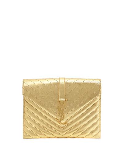 Saint Laurent Monogramme Envelope Shoulder Bag, Gold