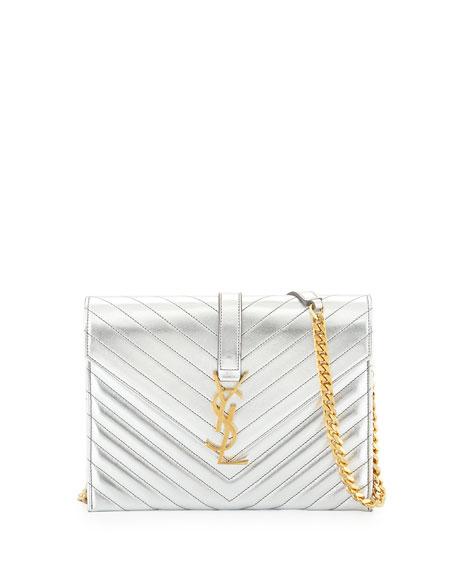 Monogramme Envelope Shoulder Bag, Silver