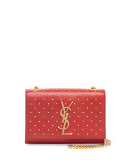 Saint Laurent Monogramme Studded Crossbody Bag, Red