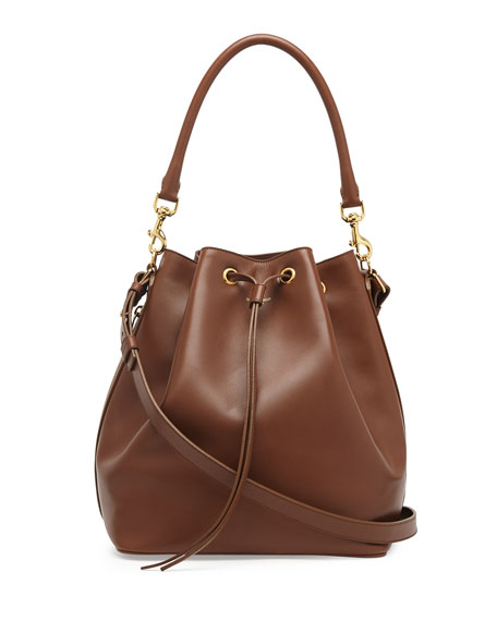 Saint Laurent Medium Bucket Shoulder Bag, Cognac