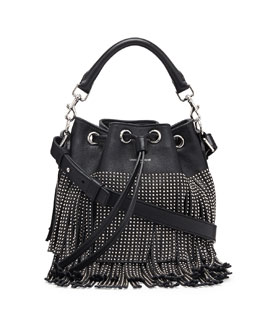 Saint Laurent Small Stud Fringe Bucket Shoulder Bag, Black