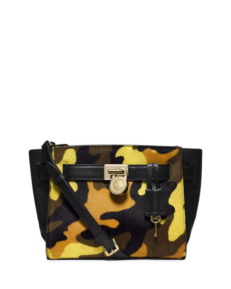 Small Hamilton Camo Calf-Hair Messenger