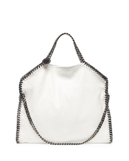 Stella McCartney Falabella Faux-Python Fold-Over Tote Bag, White