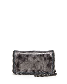 Stella McCartney Falabella Faux-Lizard Crossbody Bag, Pewter