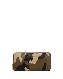 MICHAEL Michael Kors  Jet Set Travel Zip-Around Camo Continental Wallet