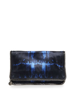Stella McCartney Tie-Dye Satin Falabella Fold-Over Clutch Bag