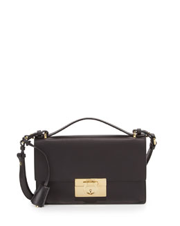 Salvatore Ferragamo Aileen Leather Shoulder Bag, Nero