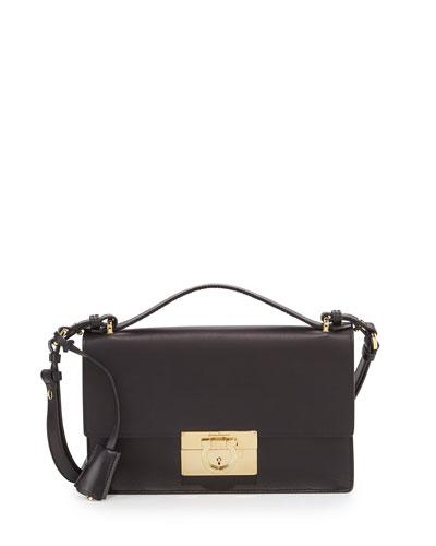 Salvatore Ferragamo Aileen Leather Shoulder Bag, Nero