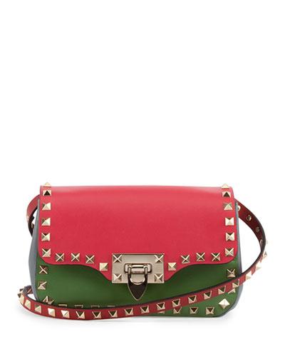 Valentino Rockstud Italian Pop Crossbody Bag, Pink/Red/Green