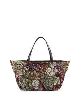 Valentino Floral Sequin Medium Tote Bag