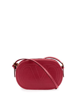 Valentino Logo-Go Small Calfskin Crossbody Bag, Red