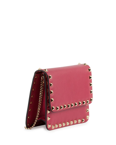 Rockstud Flap Crossbody Bag, Red