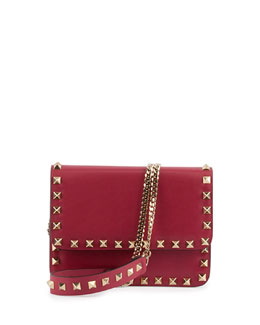 Valentino Rockstud Flap Crossbody Bag, Red