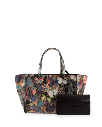 Valentino Small Printed Butterfly Camouflage Tote