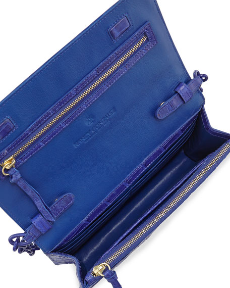 Crocodile Clutch Bag with Strap, Blue