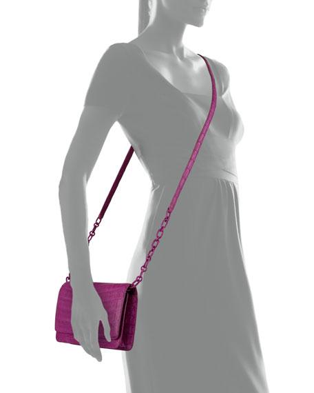 Crocodile Clutch Bag with Strap, Magenta