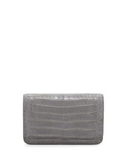 Nancy Gonzalez Crocodile Clutch Bag with Strap, Gray