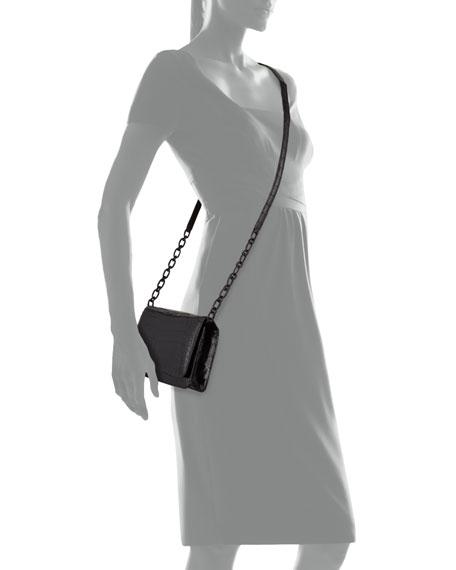 Crocodile Clutch Bag with Strap, Black