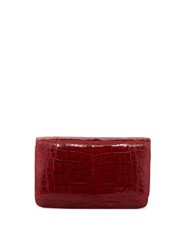 Nancy Gonzalez Crocodile Clutch Bag with Strap, Red