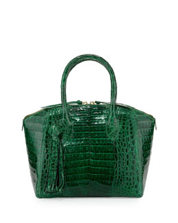 Nancy Gonzalez Small Crocodile Tassel Satchel Bag, Green