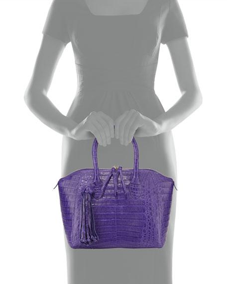 Small Crocodile Tassel Satchel Bag, Purple