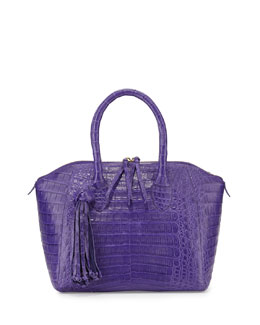 Nancy Gonzalez Small Crocodile Tassel Satchel Bag, Purple