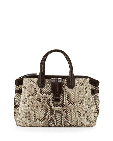 Cristina Medium Crocodile/Python Tote Bag, Natural/Crackle